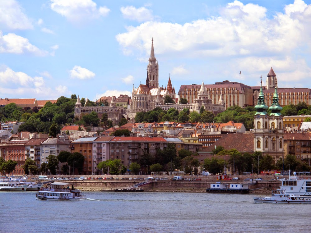 Budapest from the blue Danube River, Hungary