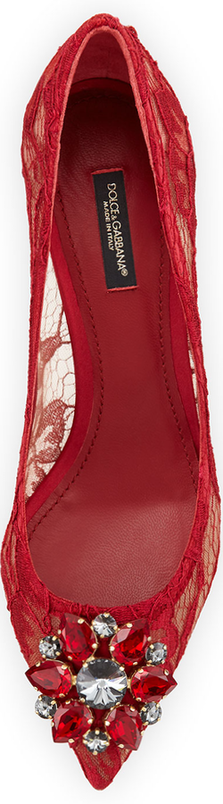 Dolce & Gabbana Jewel-Embellished Lace Pump, Red