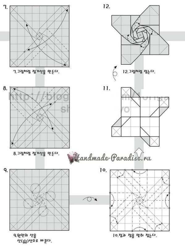 Коробочка РОЗА из бумаги в технике оригами. Мастер-класс (2)