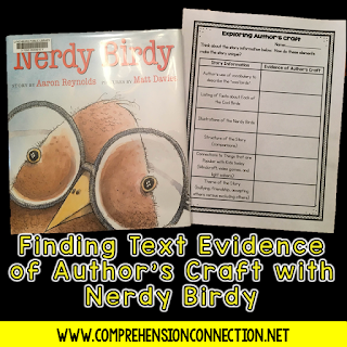 Nerdy Birdy is a wonderful mentor text for character development, community building, author's craft, and writing ideas. This post includes a freebie for teaching author's craft with the book.