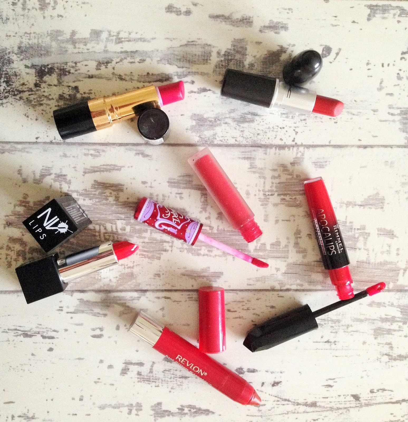 Red lipstick collection MAC, Lime Crime, Revlon