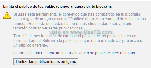 Limitar privacidad publicaciones antiguas - MasFB