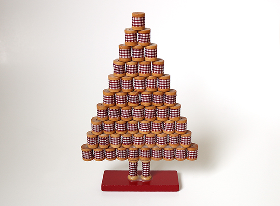 Tabletop Christmas Tree made from Wooden Spools