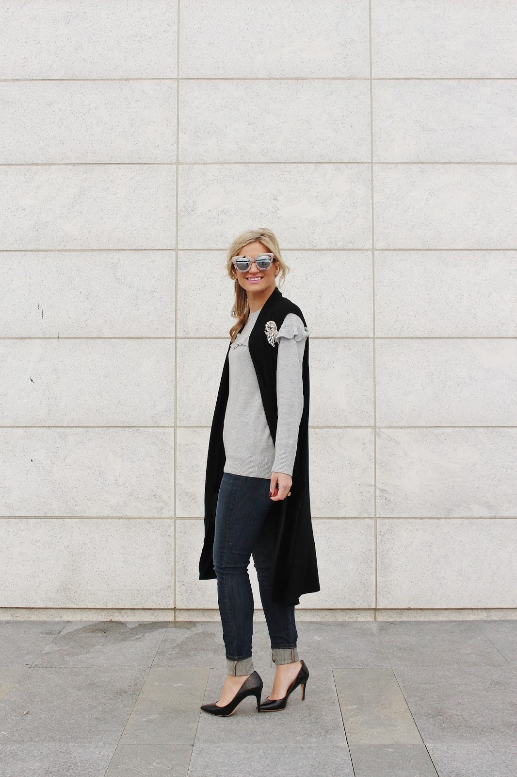 Bijuleni- Black Duster vest,grey ruffle sweater, Yoga Jeans highrise ankle skinny jeans, Jcrew heels and Chanel Vintage handbag