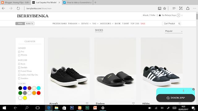 Tampilan Webstie Berrybenka.com Sneakers