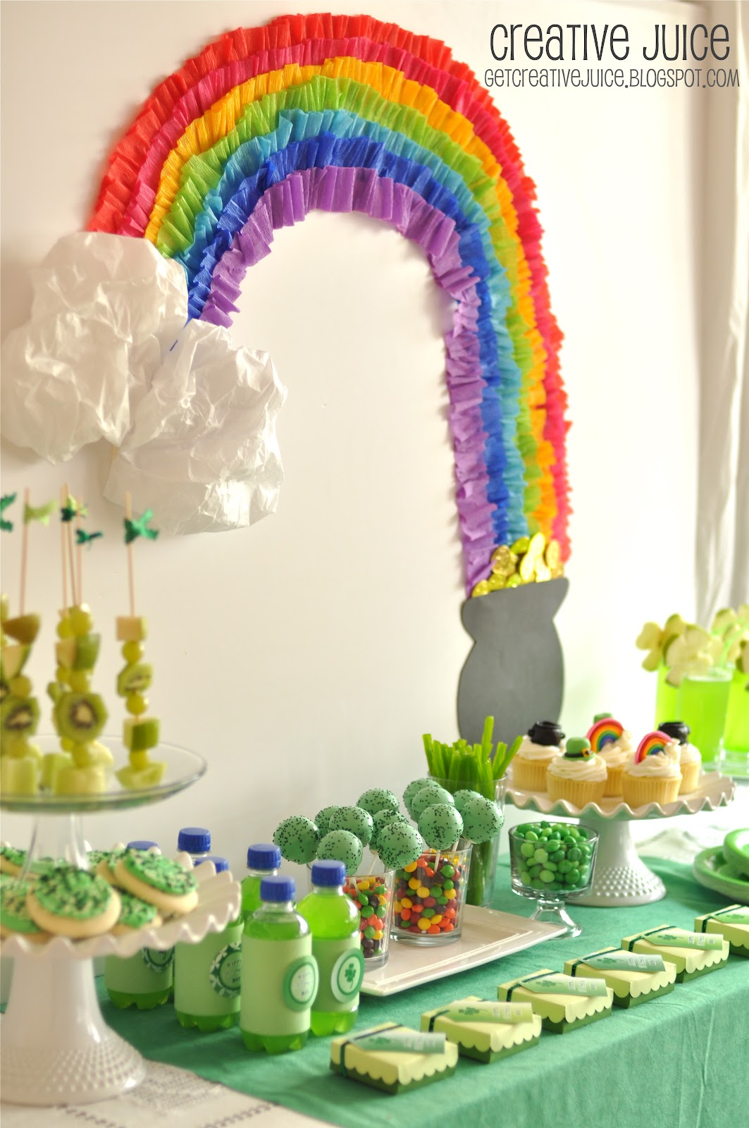 St Patrick's Day Rainbow Inspired Party Desserts table Styling - via BirdsParty.com