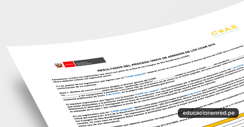 Resultado COAR 2018: Examen Final de Ingresantes a Colegios de Alto Rendimiento (28 Febrero) www.minedu.gob.pe