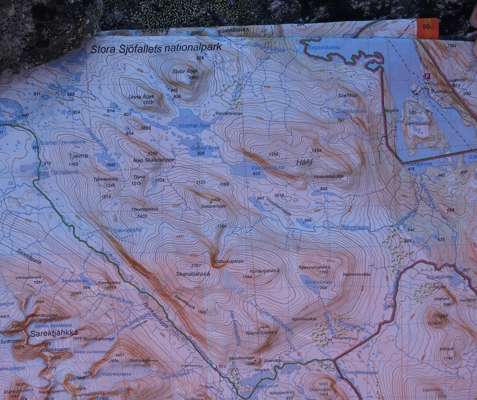 Kartta Stora Sjöfallet -kansallispuistosta