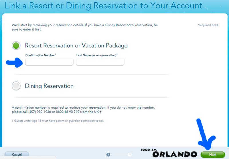 Vincular voucher de hospedagem ao site da Disney