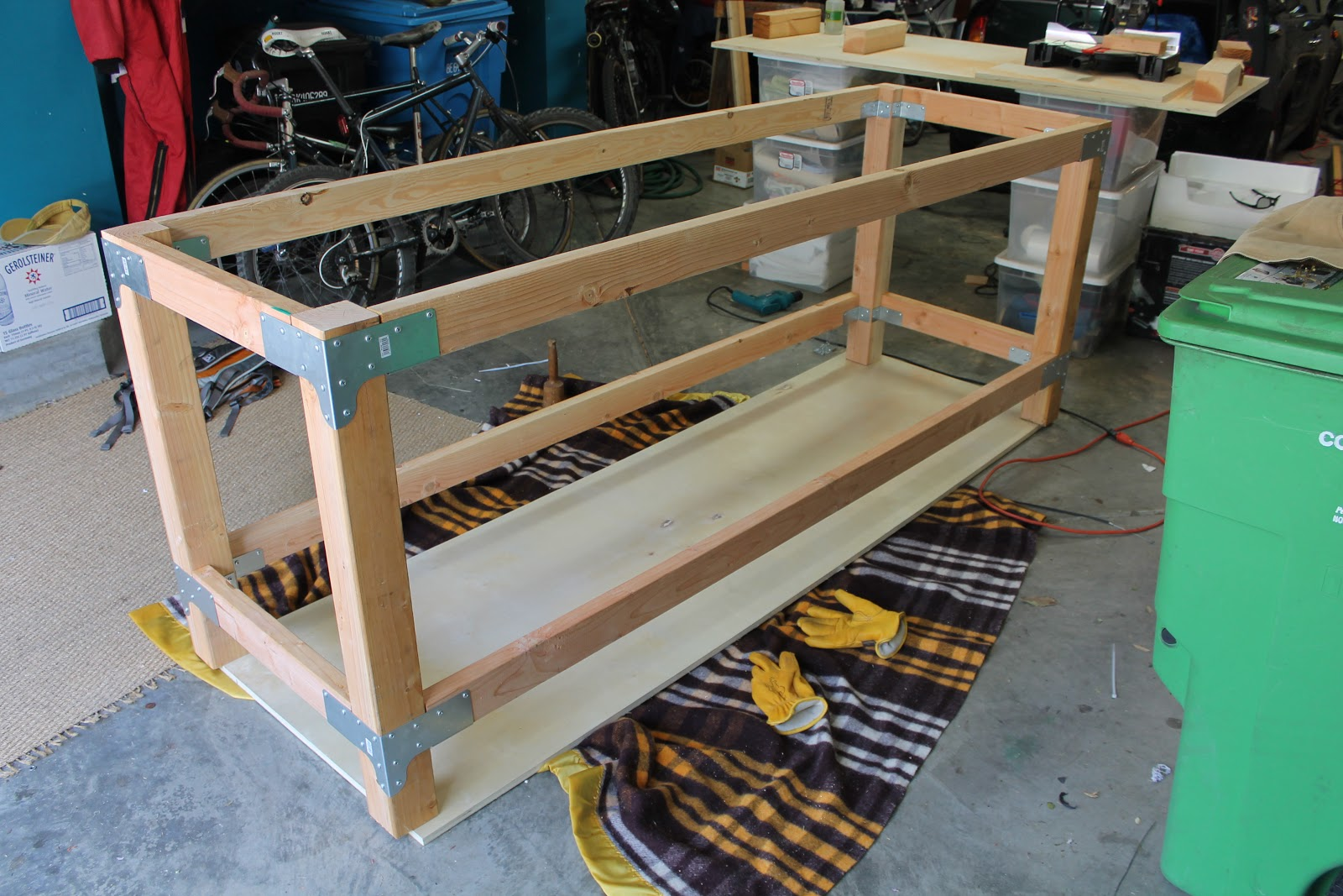 The Shingled House Finished The Garage Work Table – Plans For Garage Workbench