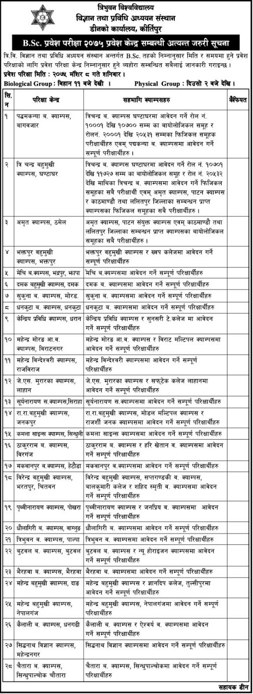 TU Published B. Sc. Entrance Exam Centers Notice
