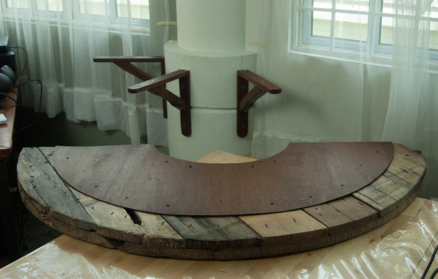 Floating half table parts brackets and counter top
