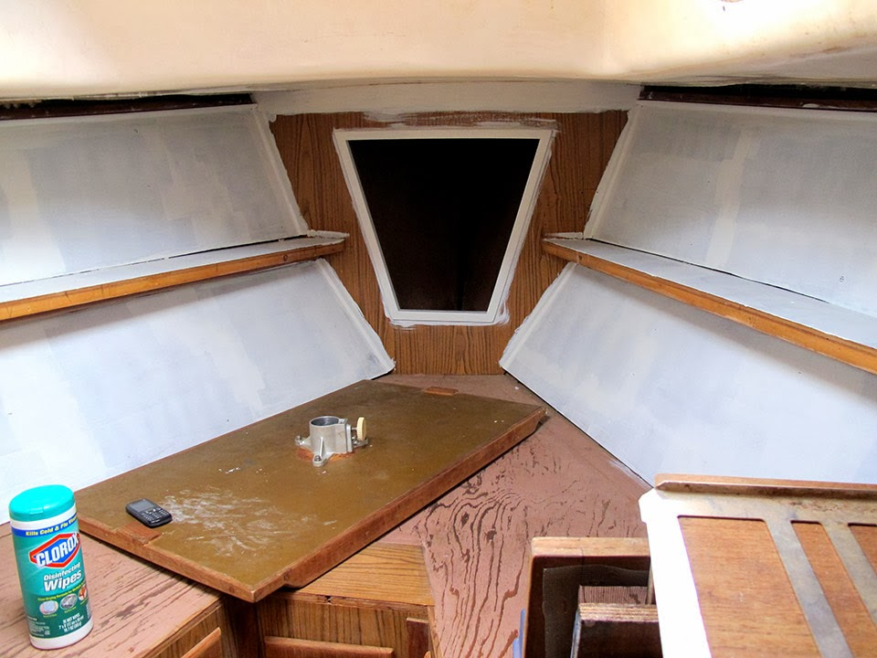 Not quite seasoned but very well salted painting the interior for Painting aluminum boat interior