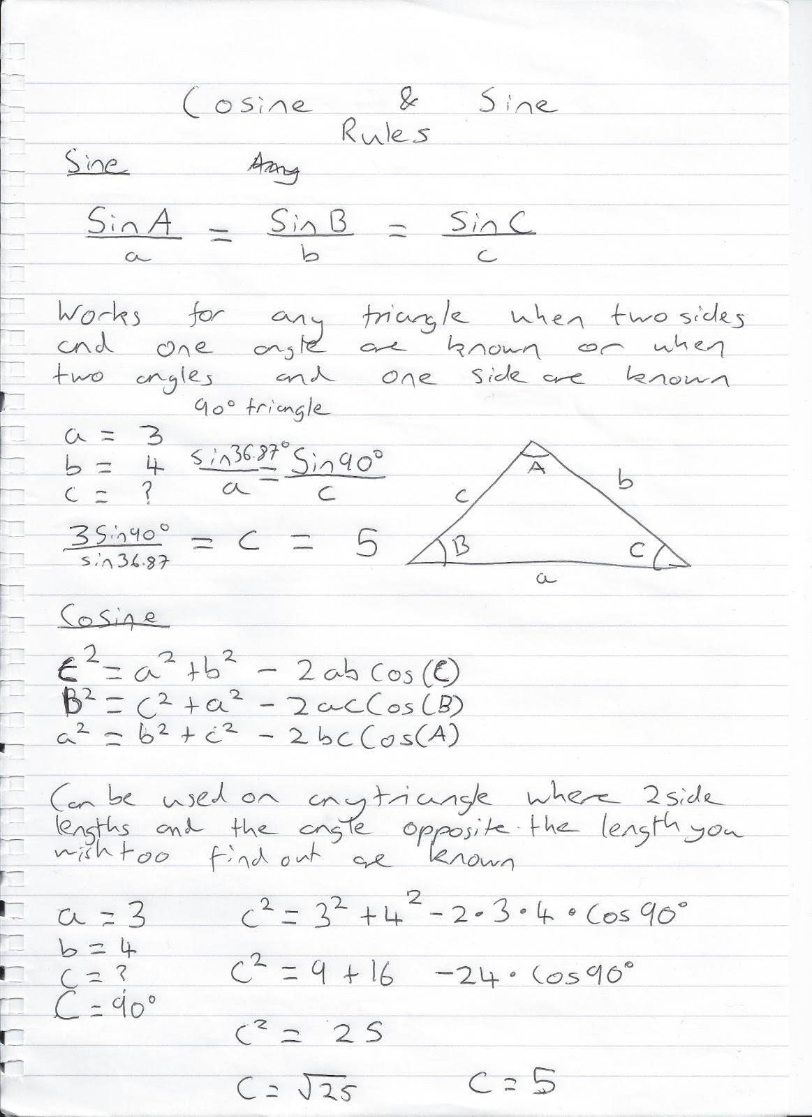 Math Help Sine And Cosine Rule