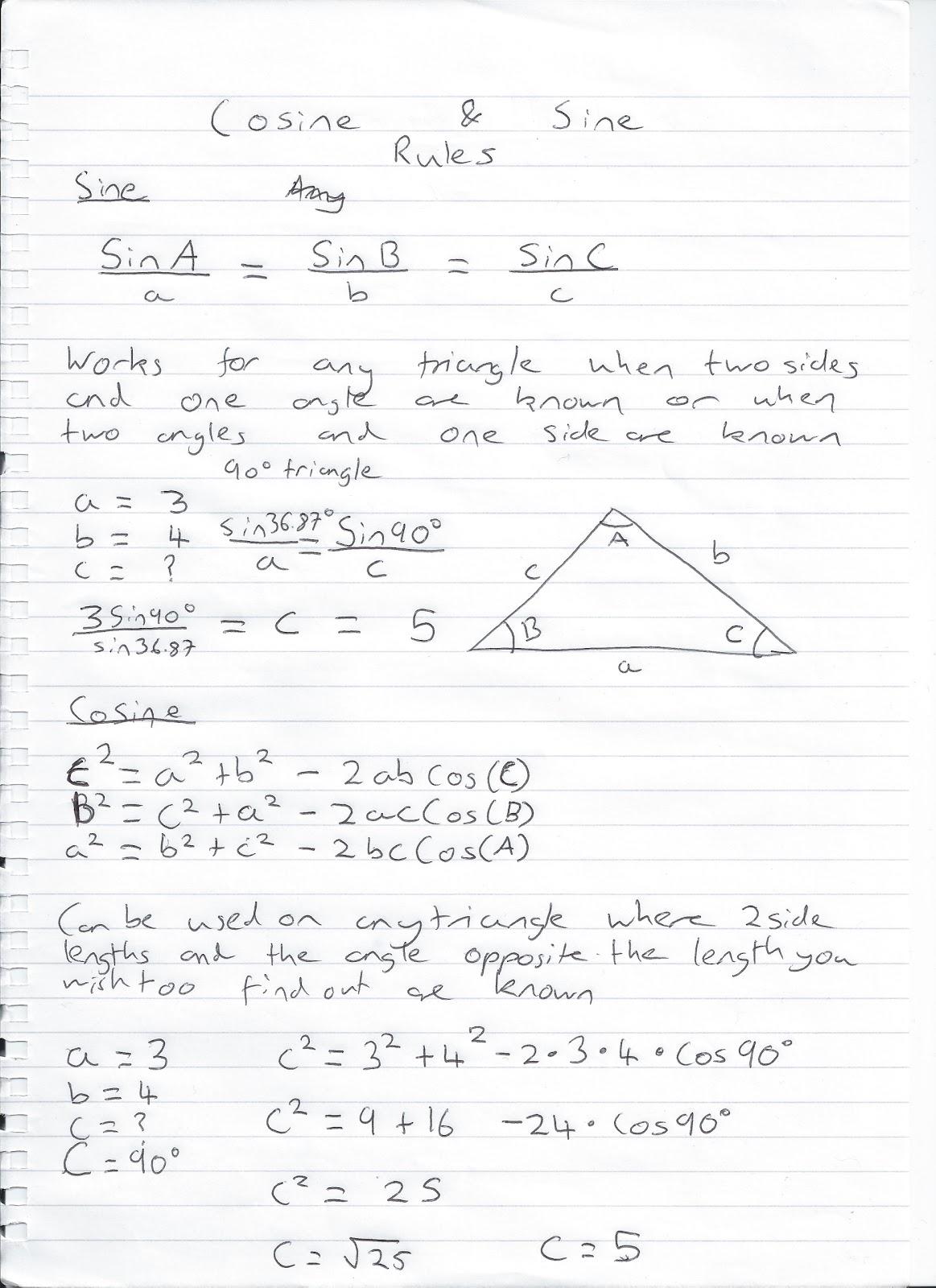 Math Help Sine And Cosine Rule