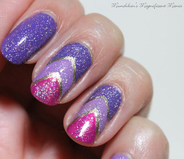 Purple Gradient and Chevron Nail Design