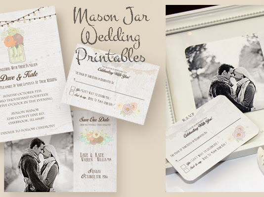 Color Inspiration and Vintage Mason Jar Wedding Invitation RSVP and Save The Date Free Download