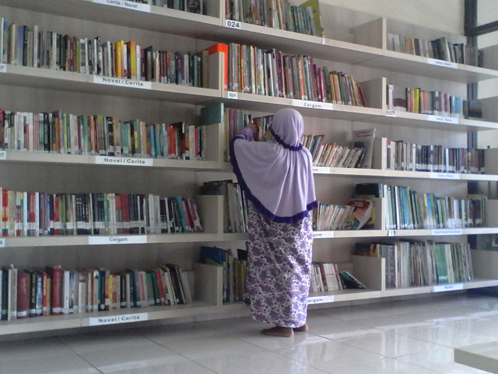 Syifa sedang asyik memilih buku di perpustakaan