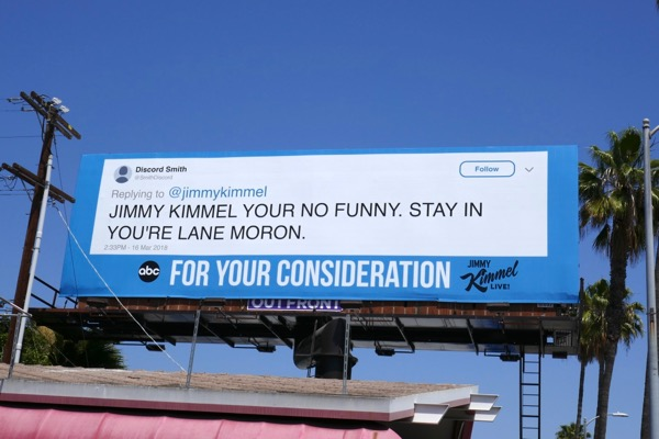 Jimmy Kimmel 2018 Emmy FYC tweet billboard