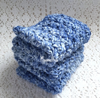 Blue Handmade Cotton Dish Cloths