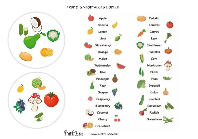 jeu dobble anglais fruits et légumes