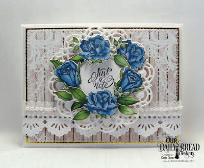 Our Daily Bread Designs Stamp/Die Duos: His Love Endures, Paper Collection: Romantic Roses,  Custom Dies:Bitty Borders, Pierced Rectangles, Pierced Circles, Doily