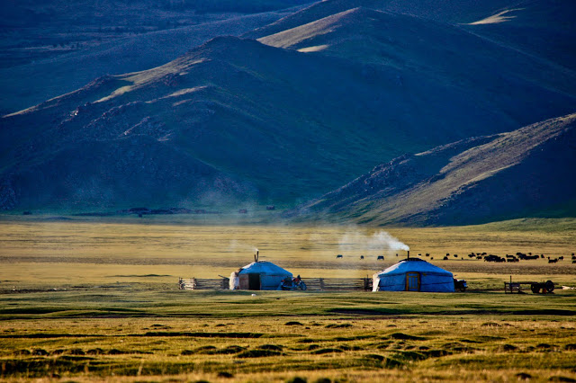 Mongolian gers in the Khangai Mountains