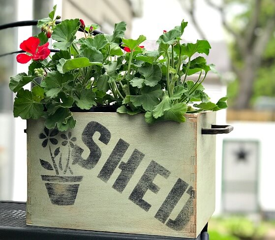 Rustic Stenciled Flower box for the yard.