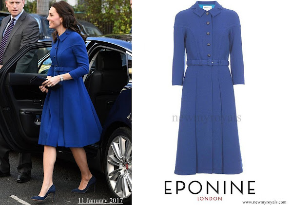 Kate Middleton wore Eponine London belted blue coat