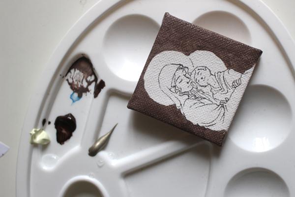 WIP peinture vierge à l'enfant miniature