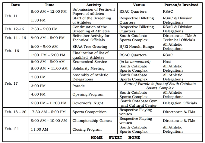the schedule of activities for SRAA Meet 2018