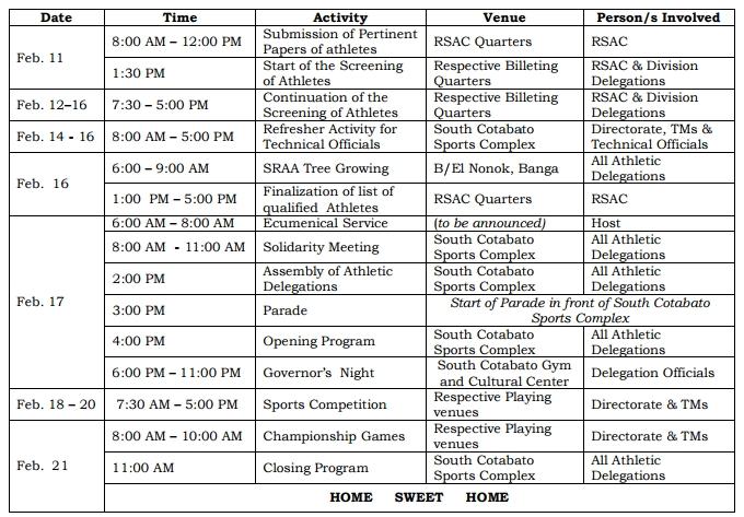 the schedule of activities for SRAA Meet 2018