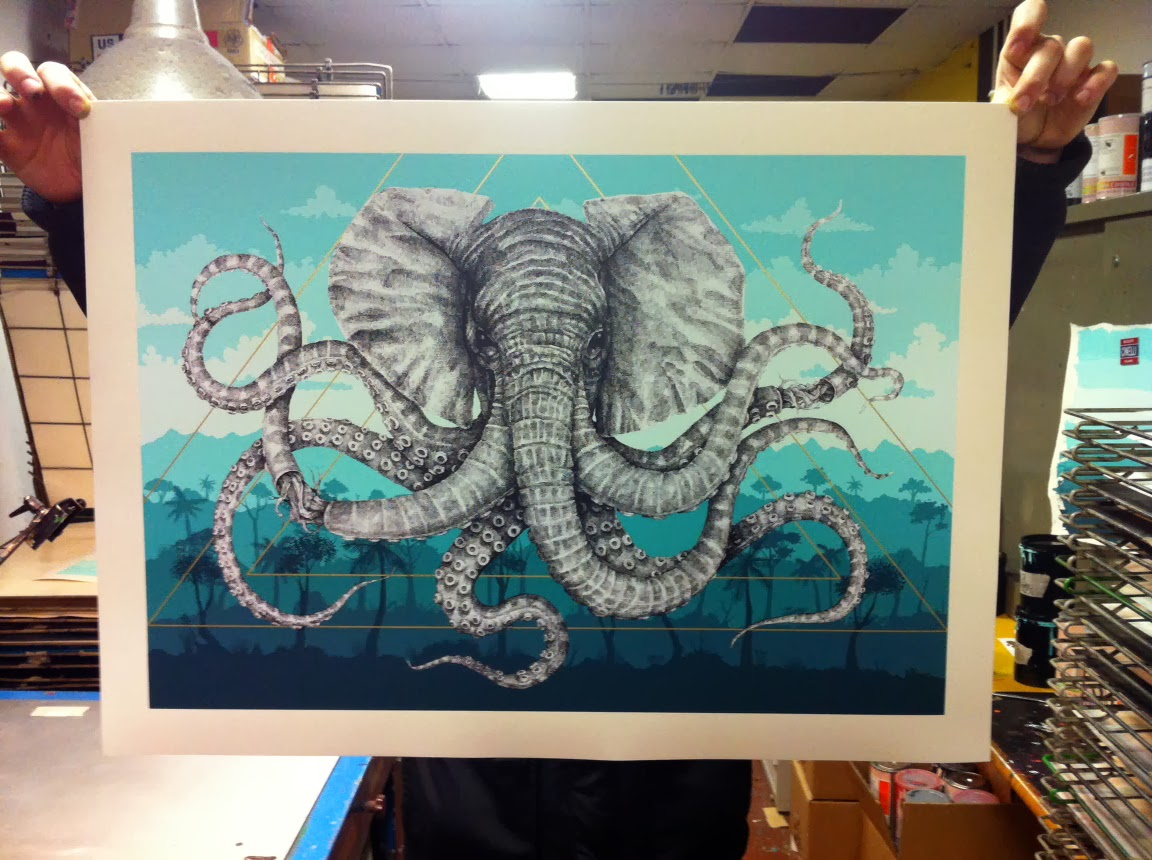 """Alexis Diaz's """"Octophant"""" Screen Print Release For His London Show """"La Linea"""" with RexRomae."""