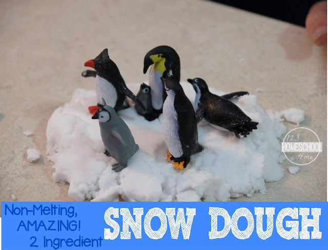 Learn about Antarctica with this penguin play activity using the amazing 2 ingredient snow dough recipe