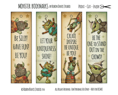 Monster Bookmarks by Robin Davis Studio