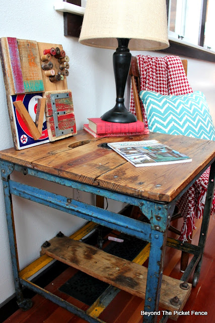 industrial table, rustic decor, metal table, love sign, valentine decor, salvaged, minwax, polyacrylic, metal wheels, http://bec4-beyondthepicketfence.blogspot.com/2016/01/love-in-bits-pieces.html