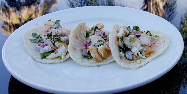 poolside Spicy Chipotle Grilled Fish Street Tacos with LA MORENA®