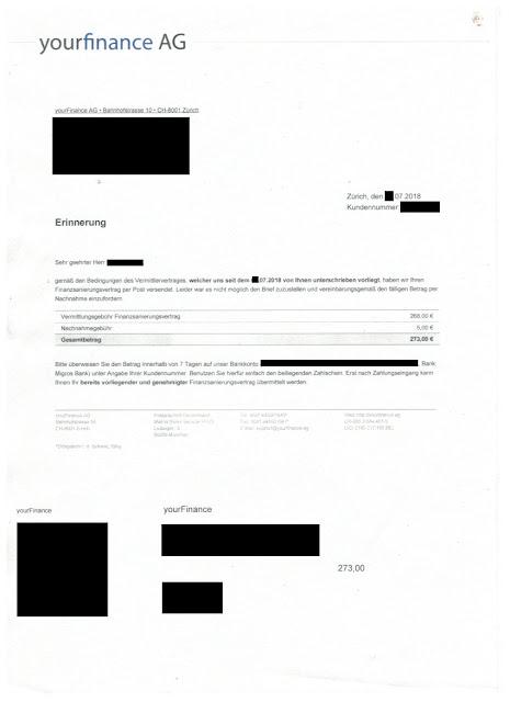 """Scan:  Erinnerung von """"yourFinance AG"""" / Juli 2018"""