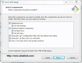 Select Component Git di Windows