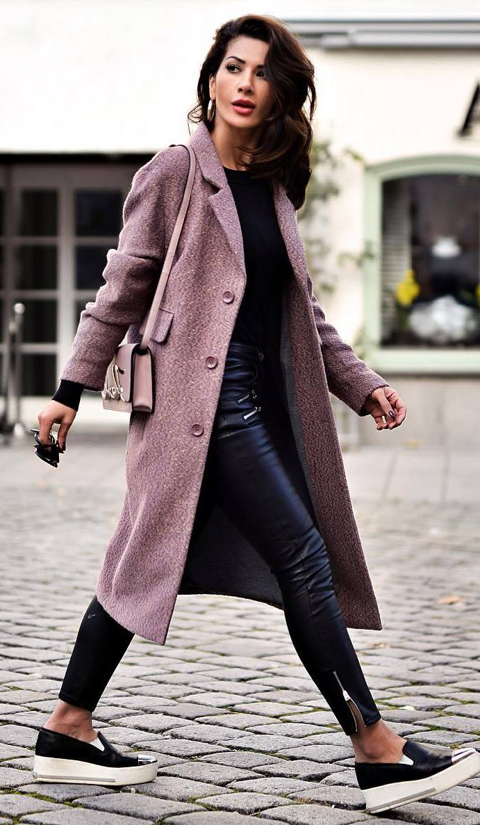 casual style obsession / bag + coat + sneakers + black top + leather skinnies