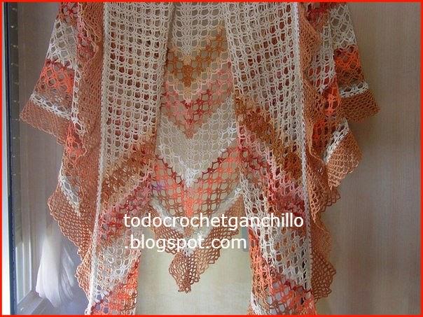 Patrón de Hermoso chal en linda combinación de colores