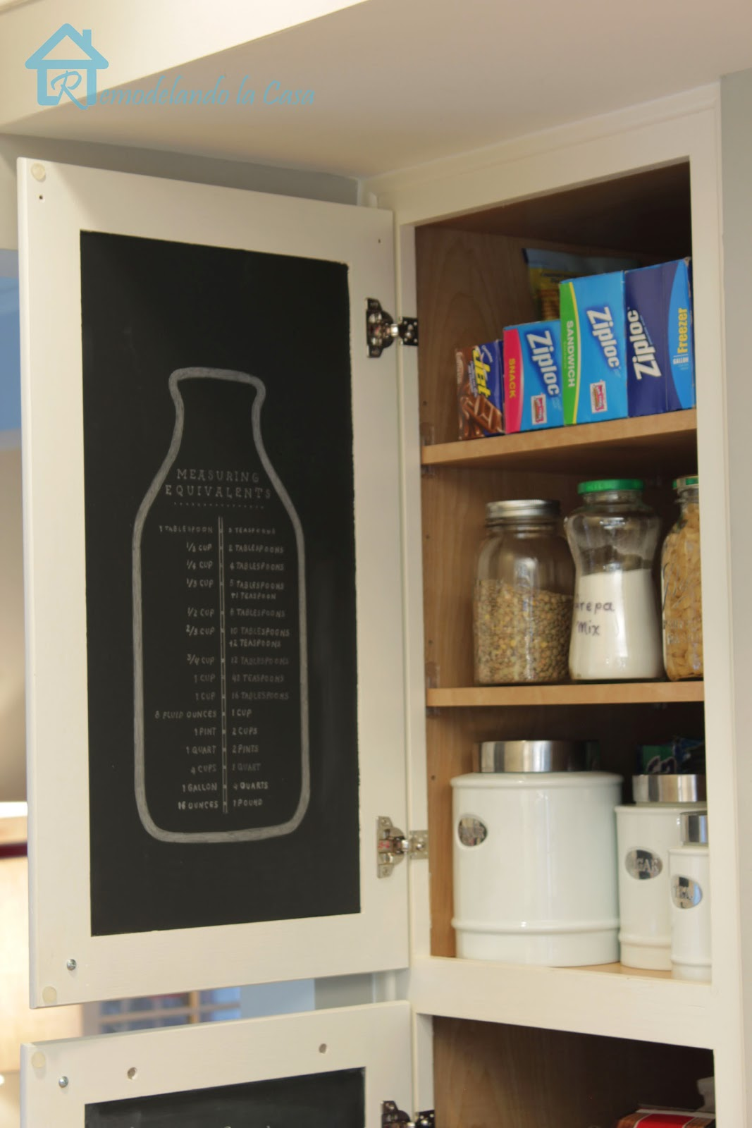 Measuring equivalent on pantry door.