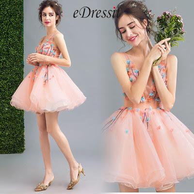 Barbie-Pink V-Cut Short Tulle Cocktail Party Dress