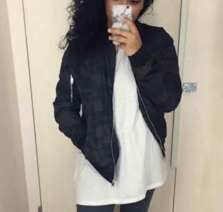cara memakai Jaket bomber wanita model 4
