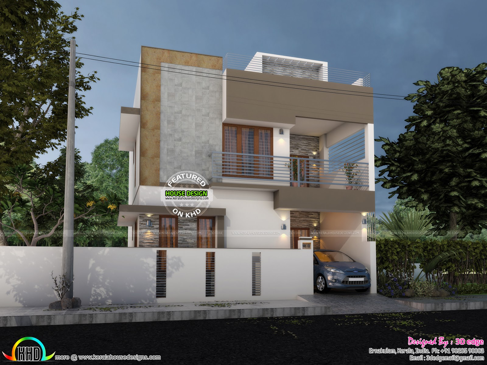 Ground Floor Modern Elevation : Modern elevation with blueprint kerala home design and