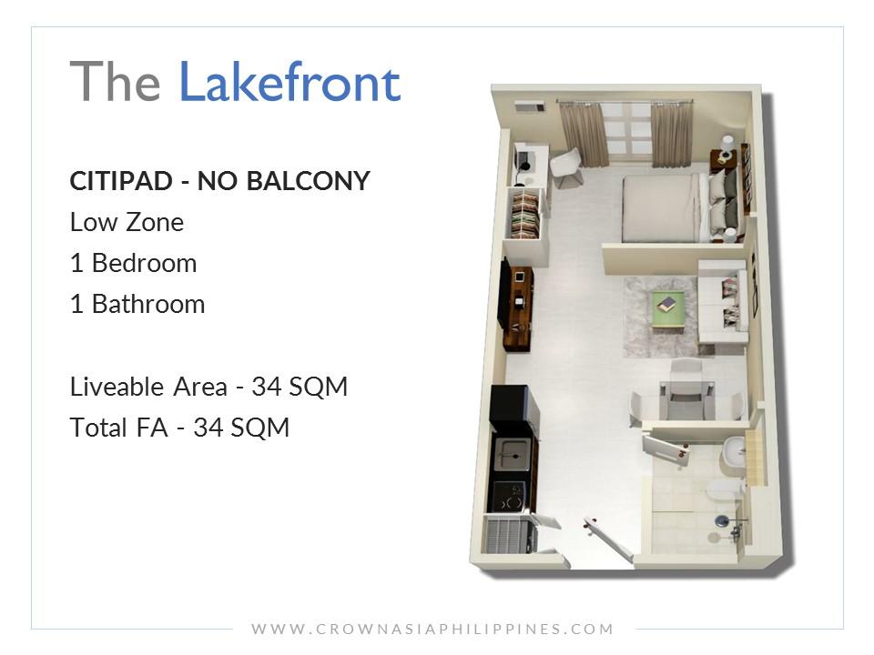 The Lakefront Santorini - Citipad - 1 Bedroom  Crown Asia Prime Condominium for Sale in Sucat