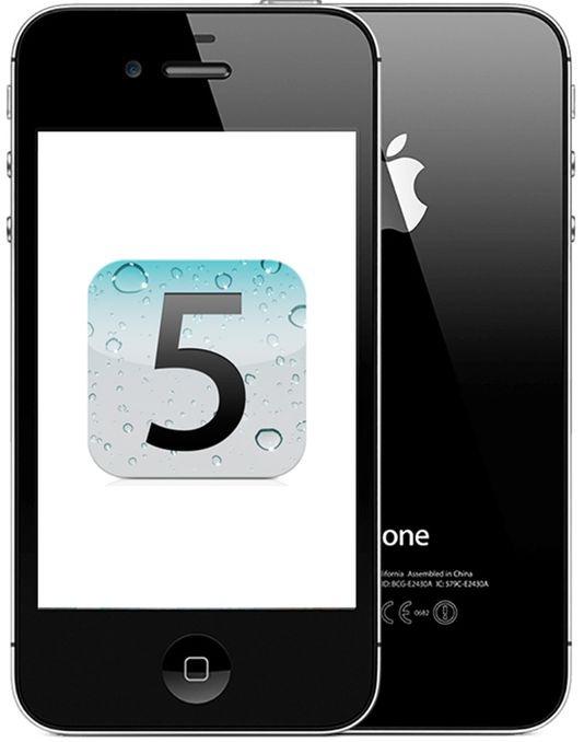 gambar IPhone 4 dan logo iOS 5