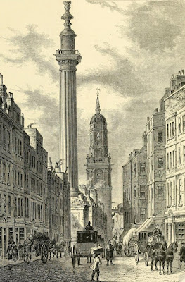 The Monument c1800 from Old and New London byW Thornbury (1873)