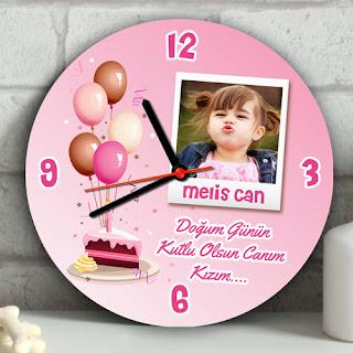 Kız Bebeklere Özel Doğum Günü Duvar Saati