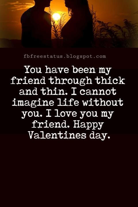 Valentines Day Messages For Friends, You have been my friend through thick and thin. I cannot imagine life without you. I love you my friend. Happy Valentines day.